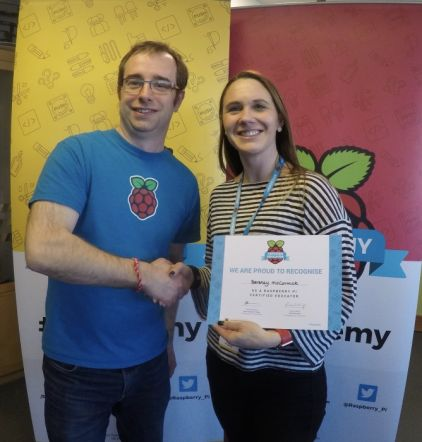 Mrs McCormick is now a certified Raspberry Pi Educator
